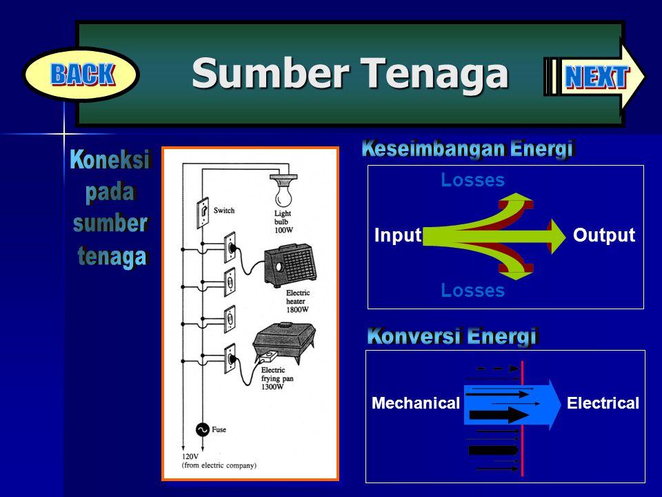 Sumber Tenaga MechanicalElectrical InputOutput Losses