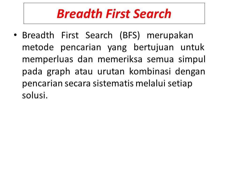 Breadth First Search Breadth First Search (BFS) merupakan metode pencarian yang bertujuan untuk memperluas dan memeriksa semua simpul pada graph atau