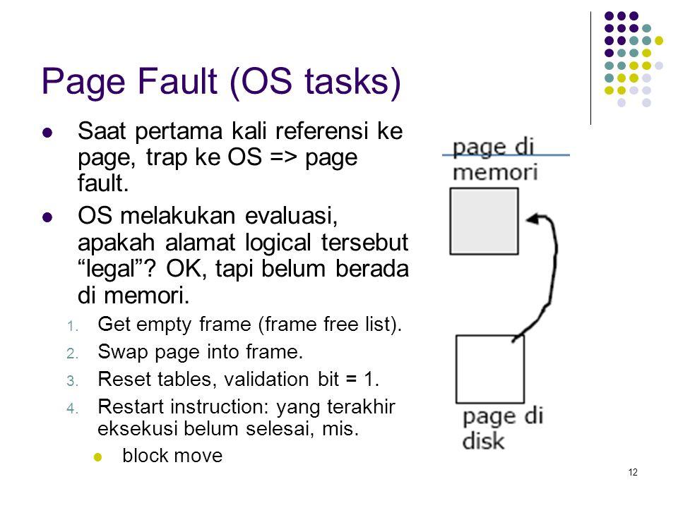 12 Page Fault (OS tasks) Saat pertama kali referensi ke page, trap ke OS => page fault.