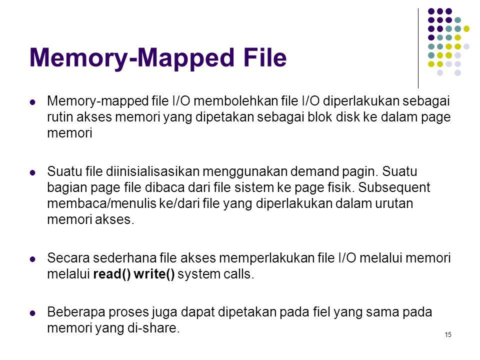 15 Memory-Mapped File Memory-mapped file I/O membolehkan file I/O diperlakukan sebagai rutin akses memori yang dipetakan sebagai blok disk ke dalam page memori Suatu file diinisialisasikan menggunakan demand pagin.