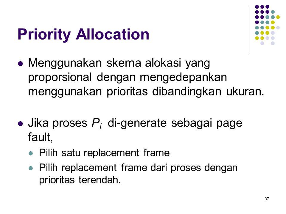 37 Priority Allocation Menggunakan skema alokasi yang proporsional dengan mengedepankan menggunakan prioritas dibandingkan ukuran.