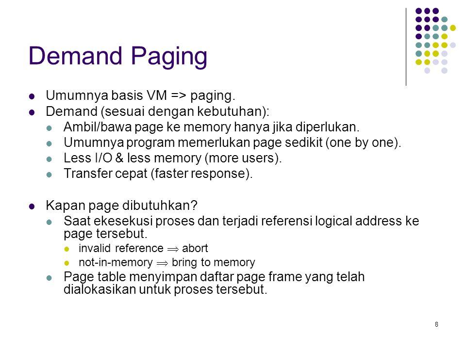 19 Basic Page Replacement 1.Tentukan lokasi yang diminta page pada disk.