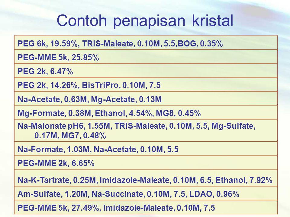 Contoh penapisan kristal PEG 6k, 19.59%, TRIS-Maleate, 0.10M, 5.5,BOG, 0.35% PEG-MME 5k, 25.85% PEG 2k, 6.47% PEG 2k, 14.26%, BisTriPro, 0.10M, 7.5 Na