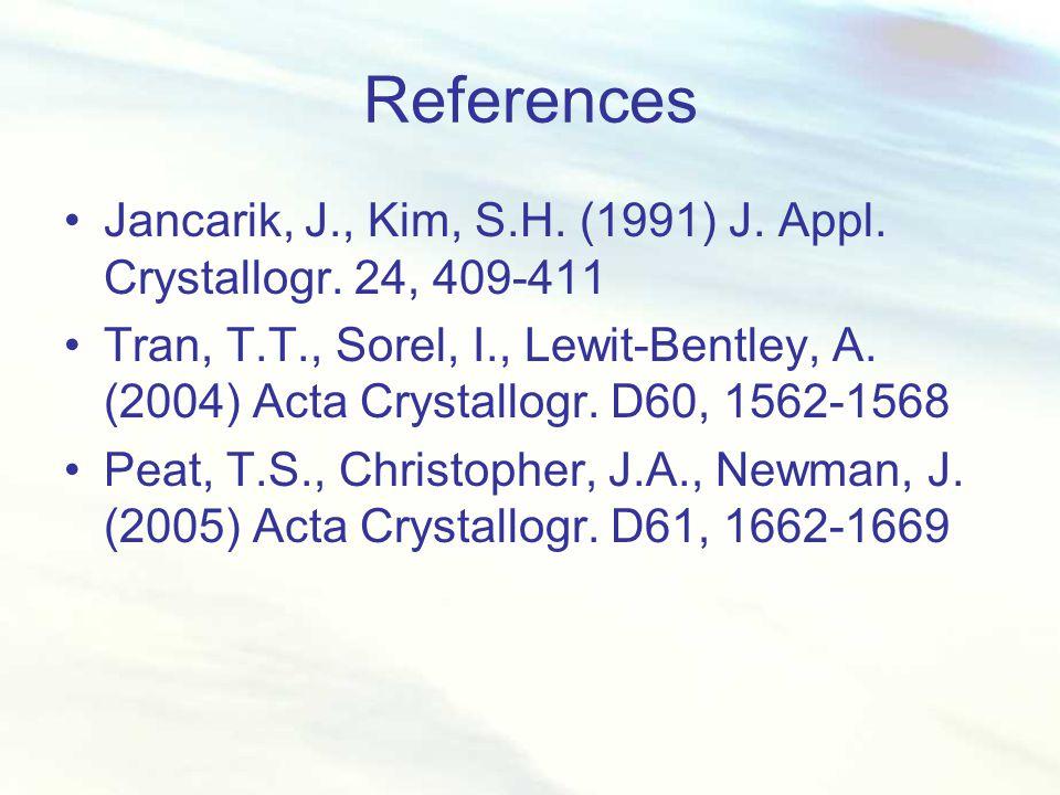 References Jancarik, J., Kim, S.H. (1991) J. Appl. Crystallogr. 24, 409-411 Tran, T.T., Sorel, I., Lewit-Bentley, A. (2004) Acta Crystallogr. D60, 156