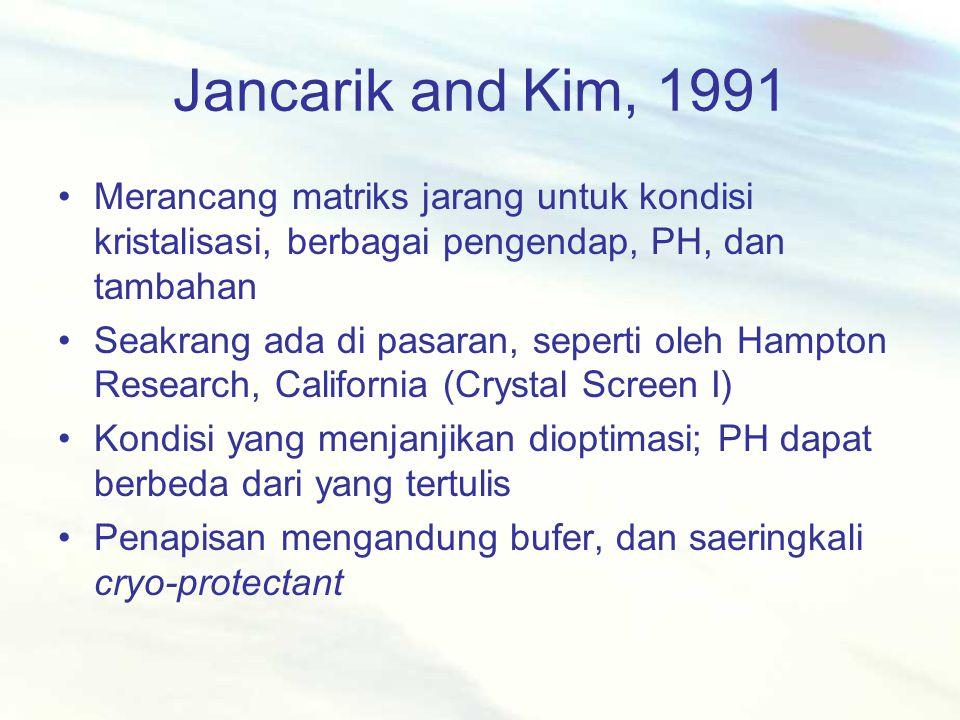 Jancarik and Kim, 1991 Merancang matriks jarang untuk kondisi kristalisasi, berbagai pengendap, PH, dan tambahan Seakrang ada di pasaran, seperti oleh