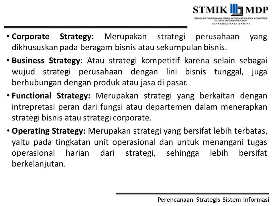Corporate Strategy: Merupakan strategi perusahaan yang dikhususkan pada beragam bisnis atau sekumpulan bisnis. Business Strategy: Atau strategi kompet