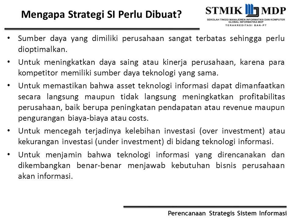 Perencanaan Strategis Sistem Informasi Mengapa Strategi SI Perlu Dibuat? Sumber daya yang dimiliki perusahaan sangat terbatas sehingga perlu dioptimal