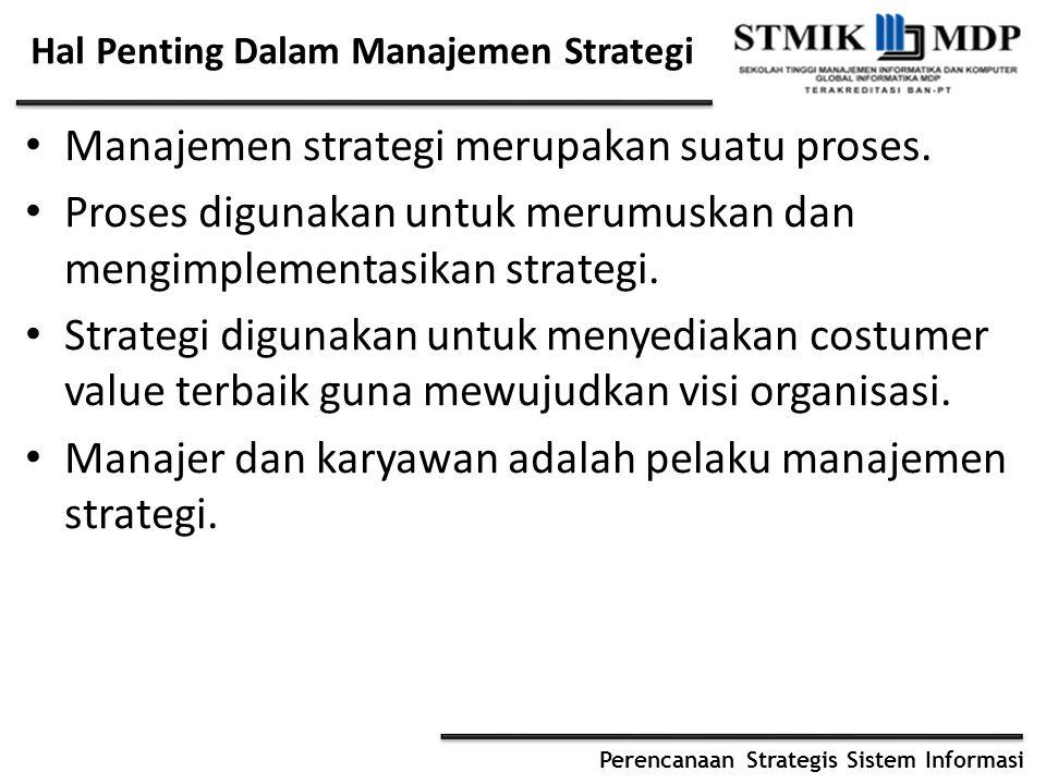 Perencanaan Strategis Sistem Informasi Hal Penting Dalam Manajemen Strategi Manajemen strategi merupakan suatu proses. Proses digunakan untuk merumusk