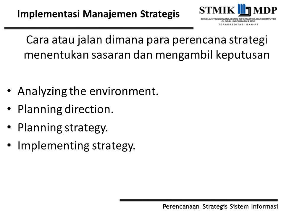 Perencanaan Strategis Sistem Informasi Tahapan Perencanaan Strategis Menetapkan misi dan tujuan perusahaan Meneliti ancaman dan peluang Meneliti kekuatan dan kelemahan Mempertimbangkan alternatif strategi Memilih strategi Implementasi strategi Evaluasi strategi