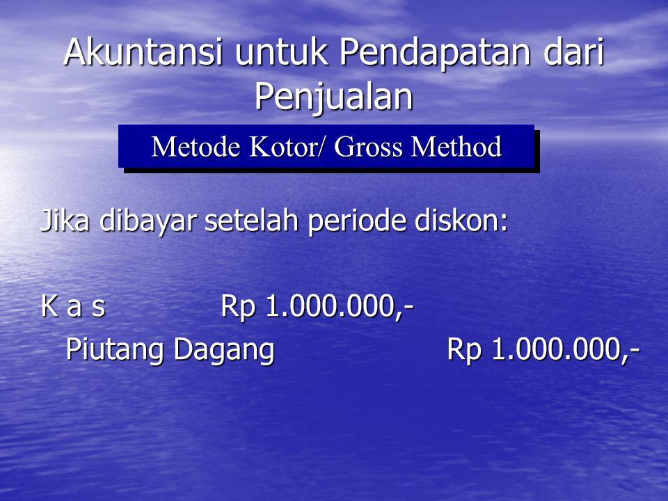 Jika contoh sama yaitu transaksi penjualan secara kredit sebesar Rp 1.000.000,- dengan 2/10, n/30 Akuntansi untuk Pendapatan dari Penjualan Pada saat penjualan terjadi (15 Maret) Piutang Dagang Rp 980.000,- Penjualan Rp 980.000,- Metode Bersih / Net Method