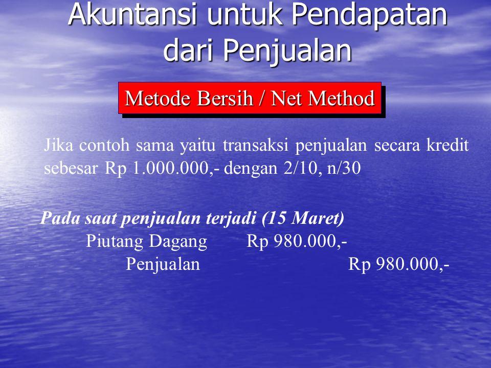 Jika contoh sama yaitu transaksi penjualan secara kredit sebesar Rp 1.000.000,- dengan 2/10, n/30 Akuntansi untuk Pendapatan dari Penjualan Pada saat