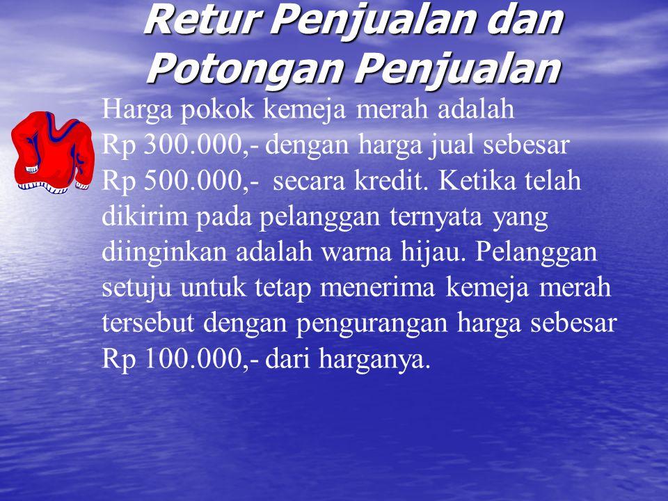 Retur Penjualan dan Potongan Penjualan Jurnal penjualan: Piutang Dagang Rp 500.000,- Penjualan Rp 500.000,- Harga Pokok Penj.
