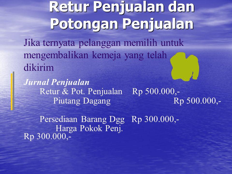 Retur Penjualan dan Potongan Penjualan Jurnal Penjualan Retur & Pot. Penjualan Rp 500.000,- Piutang Dagang Rp 500.000,- Persediaan Barang Dgg Rp 300.0