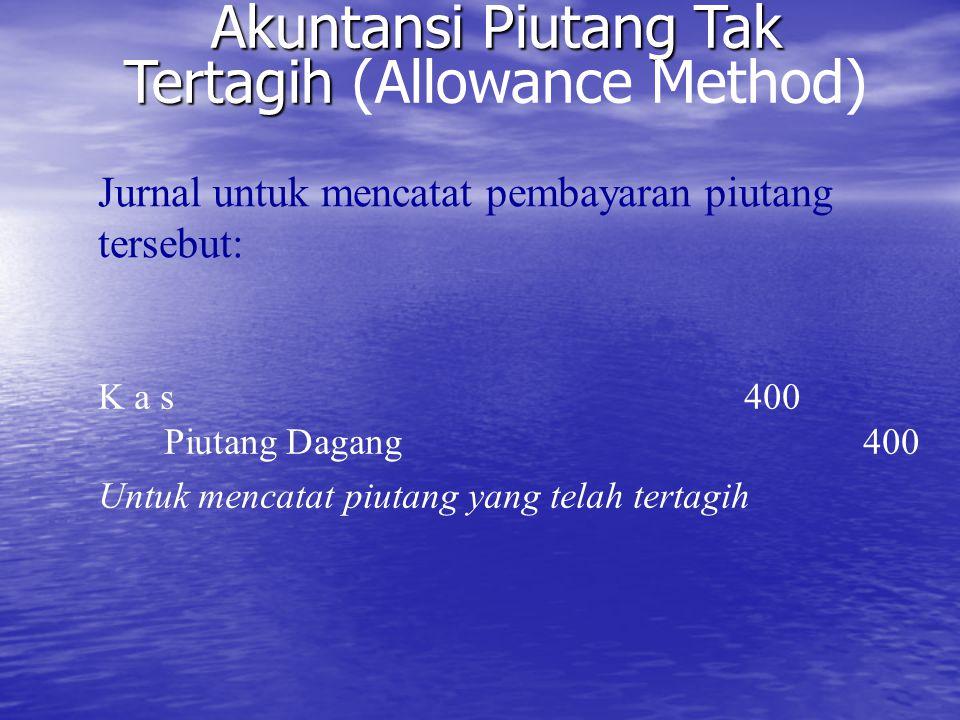Akuntansi Piutang Tak Tertagih Akuntansi Piutang Tak Tertagih (Allowance Method) K a s 400 Piutang Dagang400 Untuk mencatat piutang yang telah tertagi