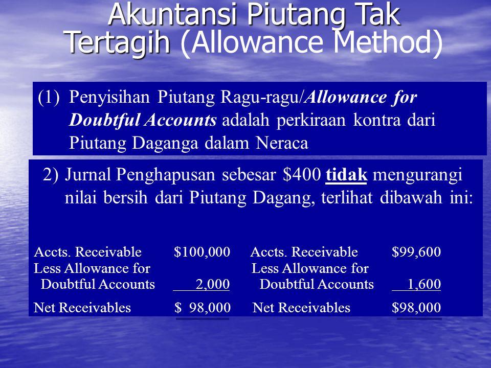 Akuntansi Piutang Tak Tertagih Akuntansi Piutang Tak Tertagih (Allowance Method) (1)Penyisihan Piutang Ragu-ragu/Allowance for Doubtful Accounts adala