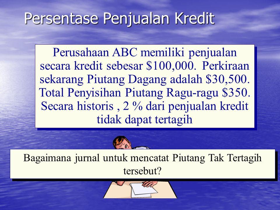 Persentase Penjualan Kredit Beban Piutang Tak Tertagih 2,000 Penyisihan Piutang Tak Tertagih 2,000 Untuk Mencatat estimasi piutang tak tertagih dalam tahun ini