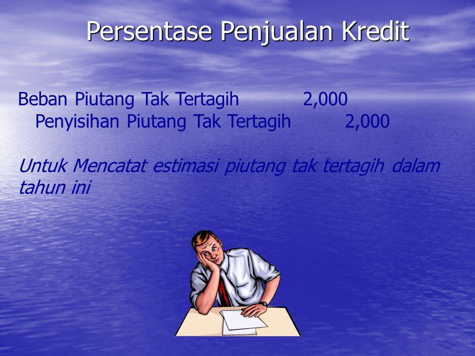 Persentase Penjualan Kredit Beban Piutang Tak Tertagih 2,000 Penyisihan Piutang Tak Tertagih 2,000 Untuk Mencatat estimasi piutang tak tertagih dalam