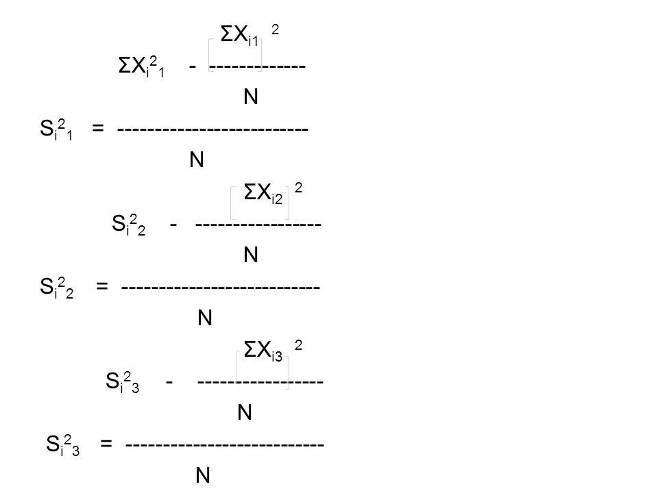 ΣX i1 2 ΣX i 2 1 - ------------- N S i 2 1 = -------------------------- N ΣX i2 2 S i 2 2 - ----------------- N S i 2 2 = --------------------------- N ΣX i3 2 S i 2 3 - ----------------- N S i 2 3 = --------------------------- N