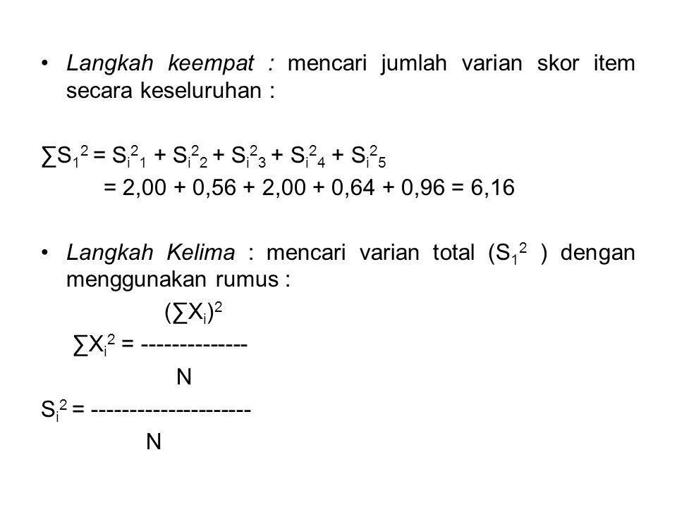 Langkah keempat : mencari jumlah varian skor item secara keseluruhan : ∑S 1 2 = S i 2 1 + S i 2 2 + S i 2 3 + S i 2 4 + S i 2 5 = 2,00 + 0,56 + 2,00 + 0,64 + 0,96 = 6,16 Langkah Kelima : mencari varian total (S 1 2 ) dengan menggunakan rumus : (∑X i ) 2 ∑X i 2 = -------------- N S i 2 = --------------------- N