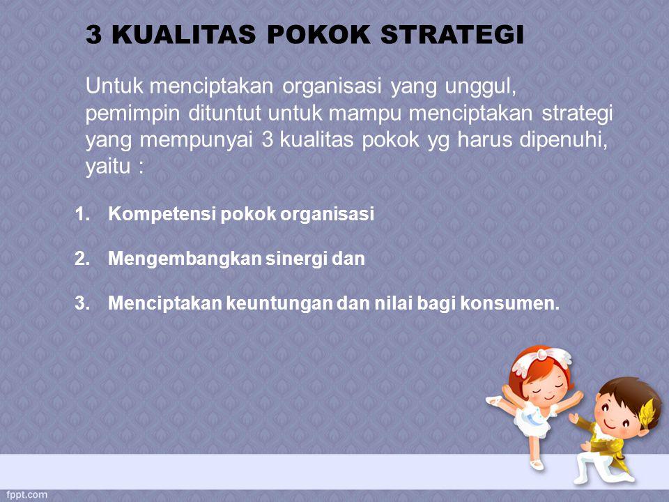 1.Kompetensi pokok organisasi 2.Mengembangkan sinergi dan 3.Menciptakan keuntungan dan nilai bagi konsumen. 3 KUALITAS POKOK STRATEGI Untuk menciptaka
