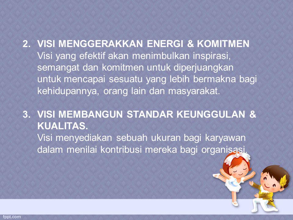 2.VISI MENGGERAKKAN ENERGI & KOMITMEN Visi yang efektif akan menimbulkan inspirasi, semangat dan komitmen untuk diperjuangkan untuk mencapai sesuatu y