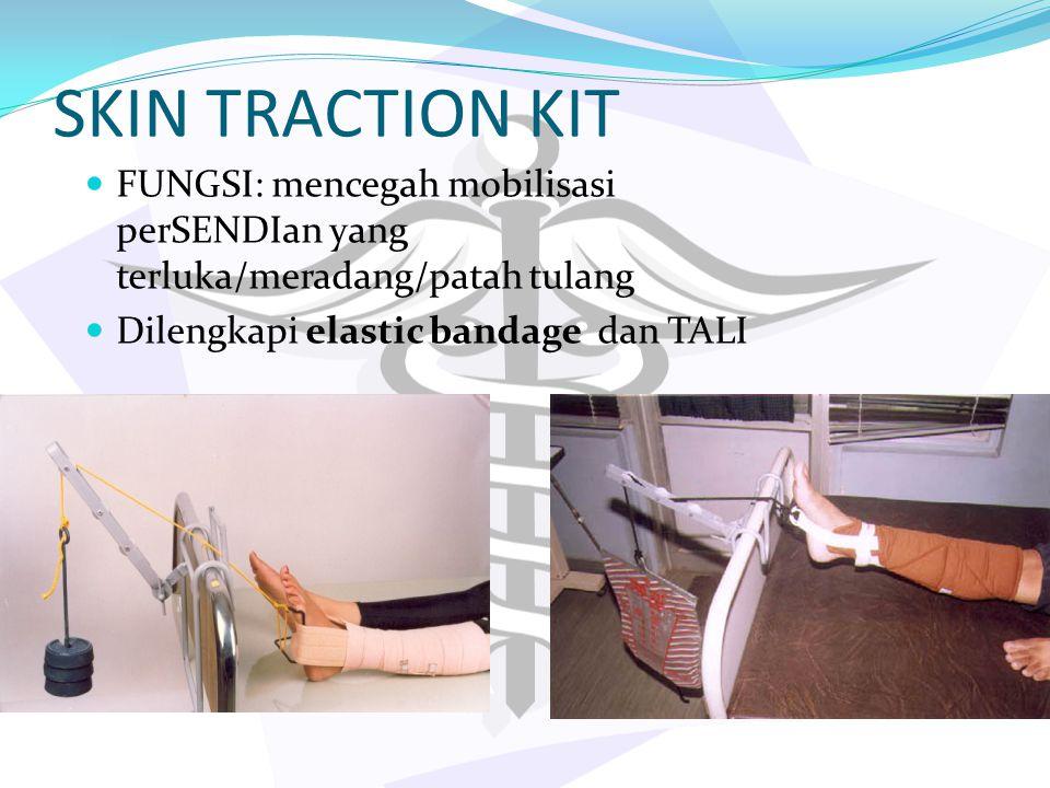 SKIN TRACTION KIT FUNGSI: mencegah mobilisasi perSENDIan yang terluka/meradang/patah tulang Dilengkapi elastic bandage dan TALI