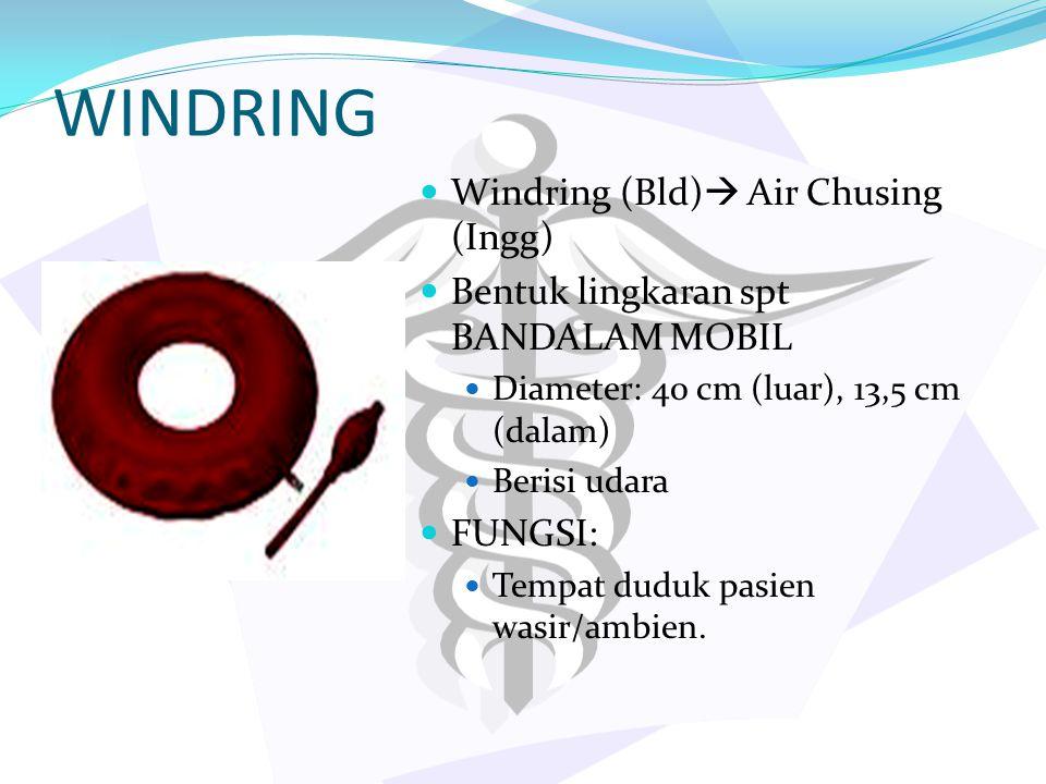 WINDRING Windring (Bld)  Air Chusing (Ingg) Bentuk lingkaran spt BANDALAM MOBIL Diameter: 40 cm (luar), 13,5 cm (dalam) Berisi udara FUNGSI: Tempat d