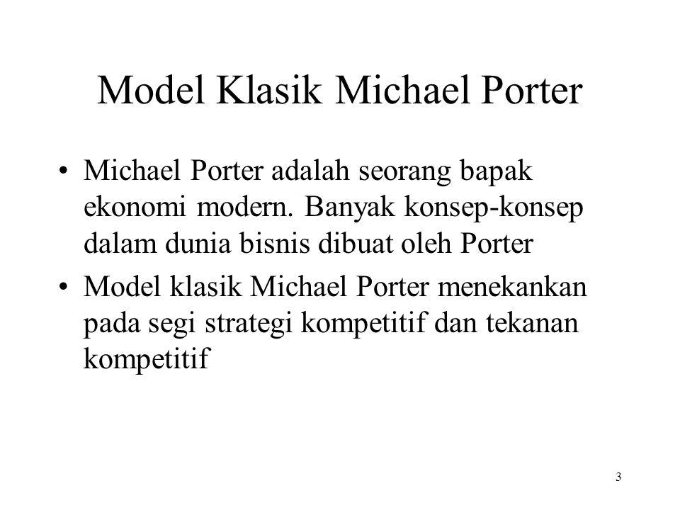 3 Model Klasik Michael Porter Michael Porter adalah seorang bapak ekonomi modern.