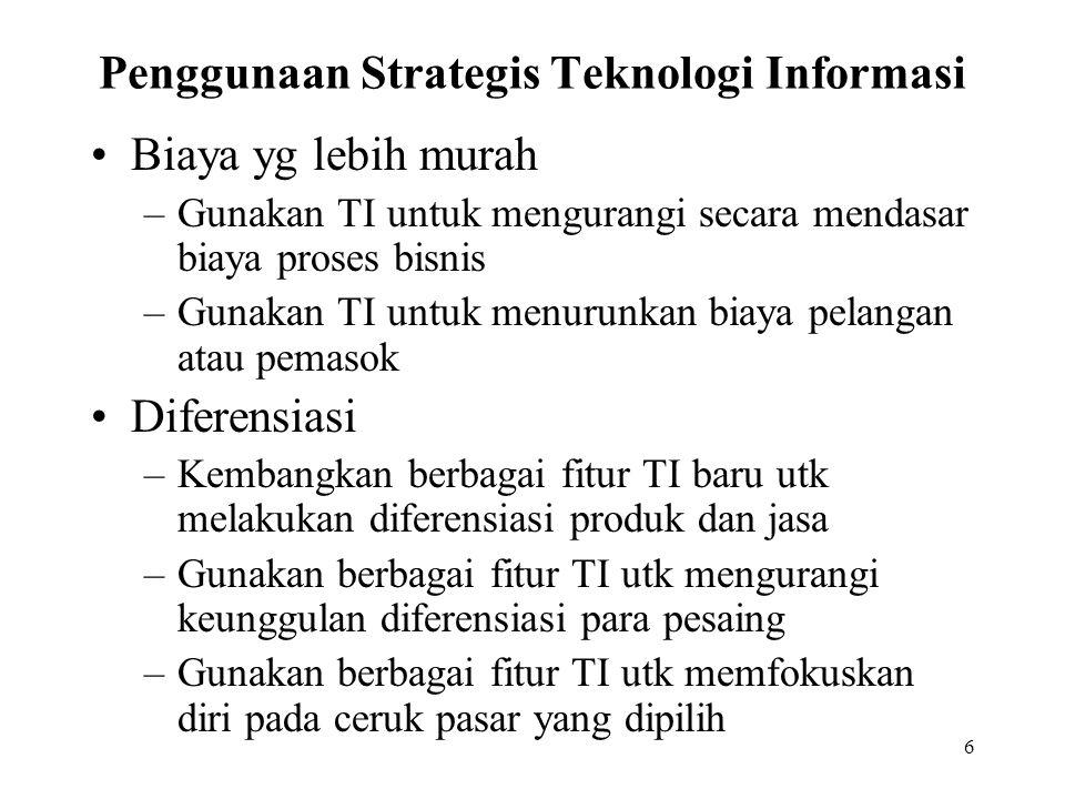 6 Penggunaan Strategis Teknologi Informasi Biaya yg lebih murah –Gunakan TI untuk mengurangi secara mendasar biaya proses bisnis –Gunakan TI untuk men