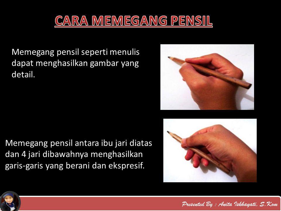 Presented By : Anita Iskhayati, S.Kom Memegang pensil seperti menulis dapat menghasilkan gambar yang detail. Memegang pensil antara ibu jari diatas da