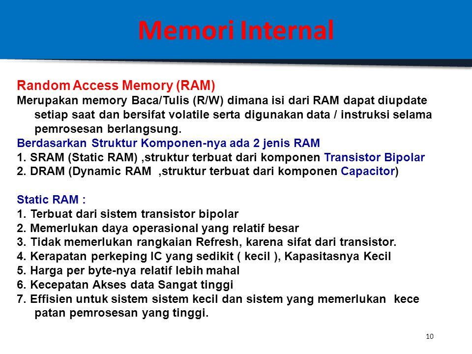 9 Memori Internal 2. Erasable > < Non-Erasable Erasable : Data dapat dihapus, untuk kemudian bisa diisi ulang Contoh: 1. EPROM (= Erasable Programmabl