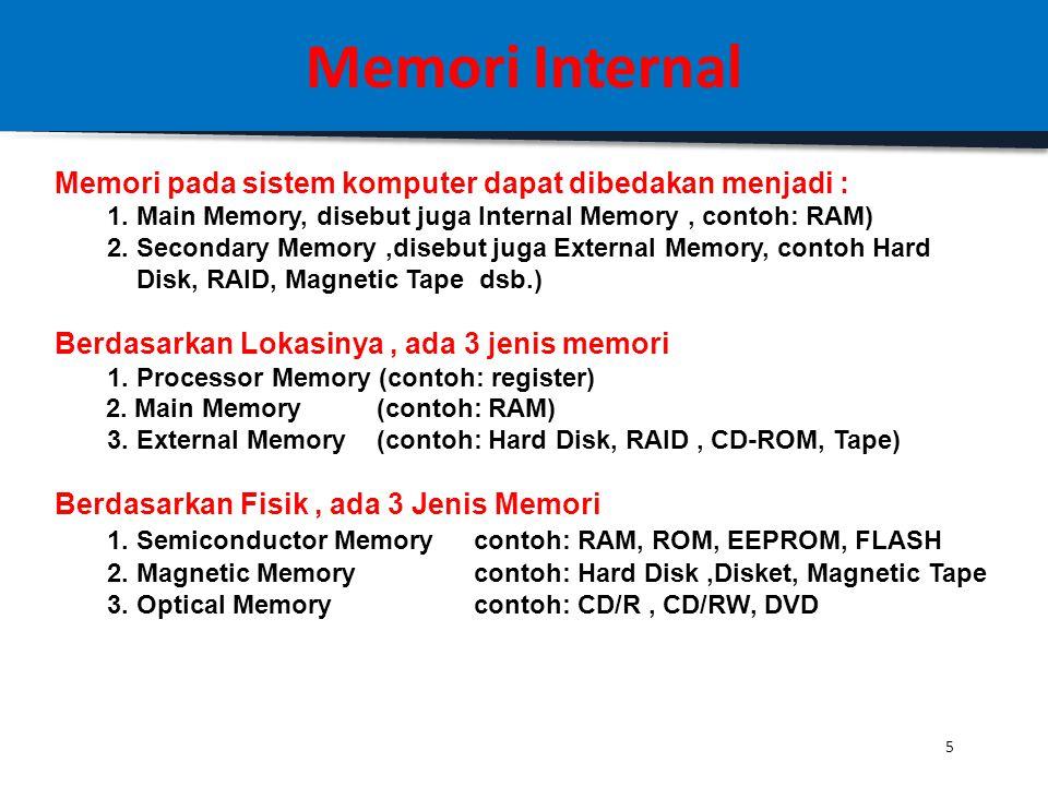 4 Memori Internal Karakteristik Hirarki Memori Semakin Kebawah maka segitiga hirarki memiliki sifat: 1. Semakin Kebawah, Semakin Murah Harga per-BIT-n