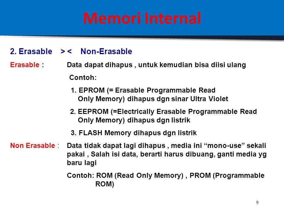 8 Memori Internal Karakteristik Fisik dari Memori 1.Volatile > < Non-Volatile Volatile : -Listrik mati, Data hilang -Penyimpanan dalam memori jenis in