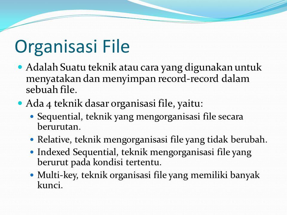 Organisasi File Adalah Suatu teknik atau cara yang digunakan untuk menyatakan dan menyimpan record-record dalam sebuah file.