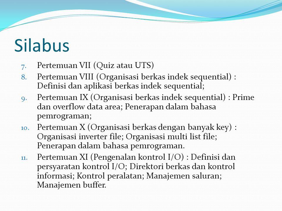 Silabus 7.Pertemuan VII (Quiz atau UTS) 8.