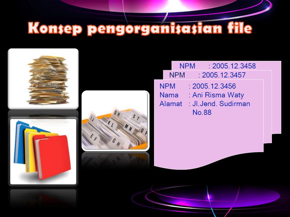 NPM: 2005.12.3456 Nama: Ani Risma Waty Alamat: Jl.Jend. Sudirman No.88 NPM: 2005.12.3457 NPM: 2005.12.3458
