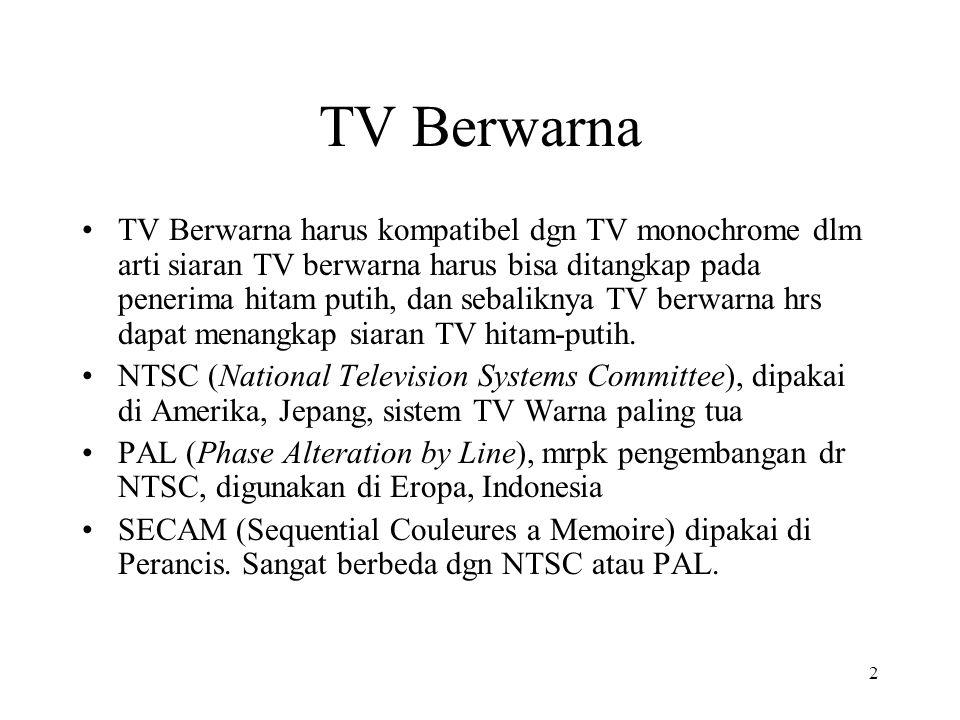 2 TV Berwarna TV Berwarna harus kompatibel dgn TV monochrome dlm arti siaran TV berwarna harus bisa ditangkap pada penerima hitam putih, dan sebaliknya TV berwarna hrs dapat menangkap siaran TV hitam-putih.
