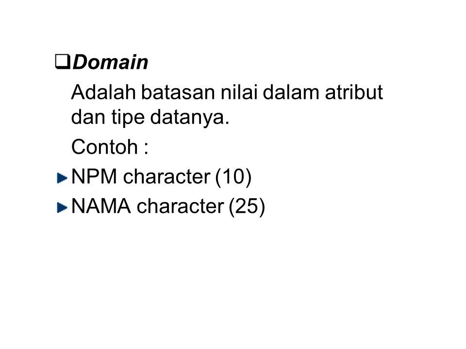  Domain Adalah batasan nilai dalam atribut dan tipe datanya. Contoh : NPM character (10) NAMA character (25)