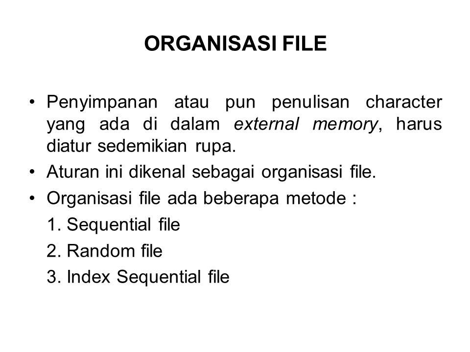 ORGANISASI FILE Penyimpanan atau pun penulisan character yang ada di dalam external memory, harus diatur sedemikian rupa. Aturan ini dikenal sebagai o