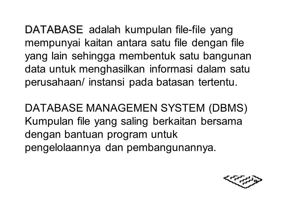 DATABASE DATABASE adalah kumpulan file-file yang mempunyai kaitan antara satu file dengan file yang lain sehingga membentuk satu bangunan data untuk m