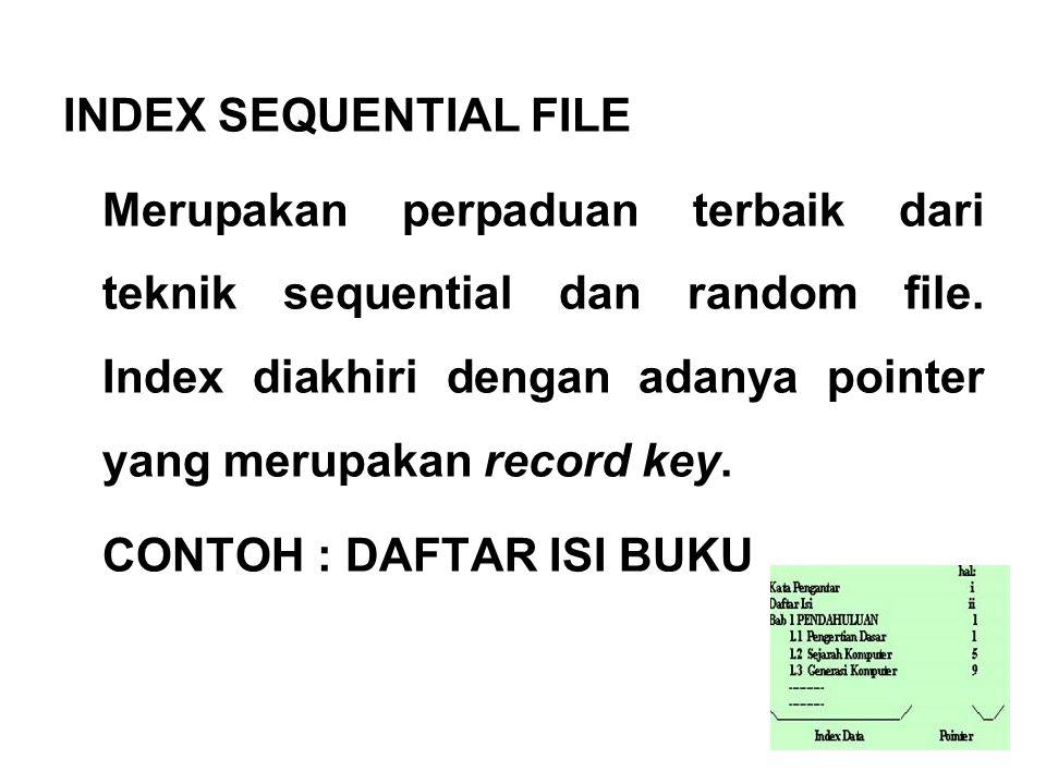 INDEX SEQUENTIAL FILE Merupakan perpaduan terbaik dari teknik sequential dan random file. Index diakhiri dengan adanya pointer yang merupakan record k