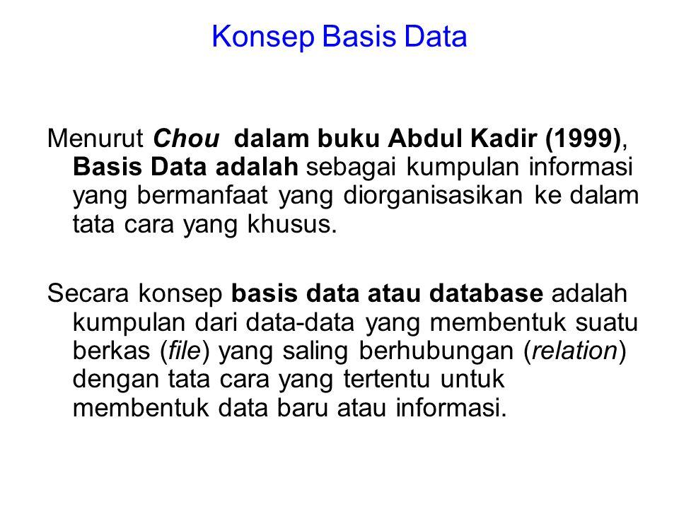Konsep Basis Data Menurut Chou dalam buku Abdul Kadir (1999), Basis Data adalah sebagai kumpulan informasi yang bermanfaat yang diorganisasikan ke dal