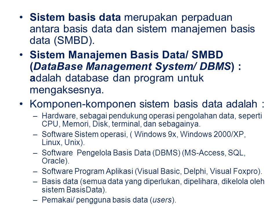 Sistem basis data merupakan perpaduan antara basis data dan sistem manajemen basis data (SMBD). Sistem Manajemen Basis Data/ SMBD (DataBase Management