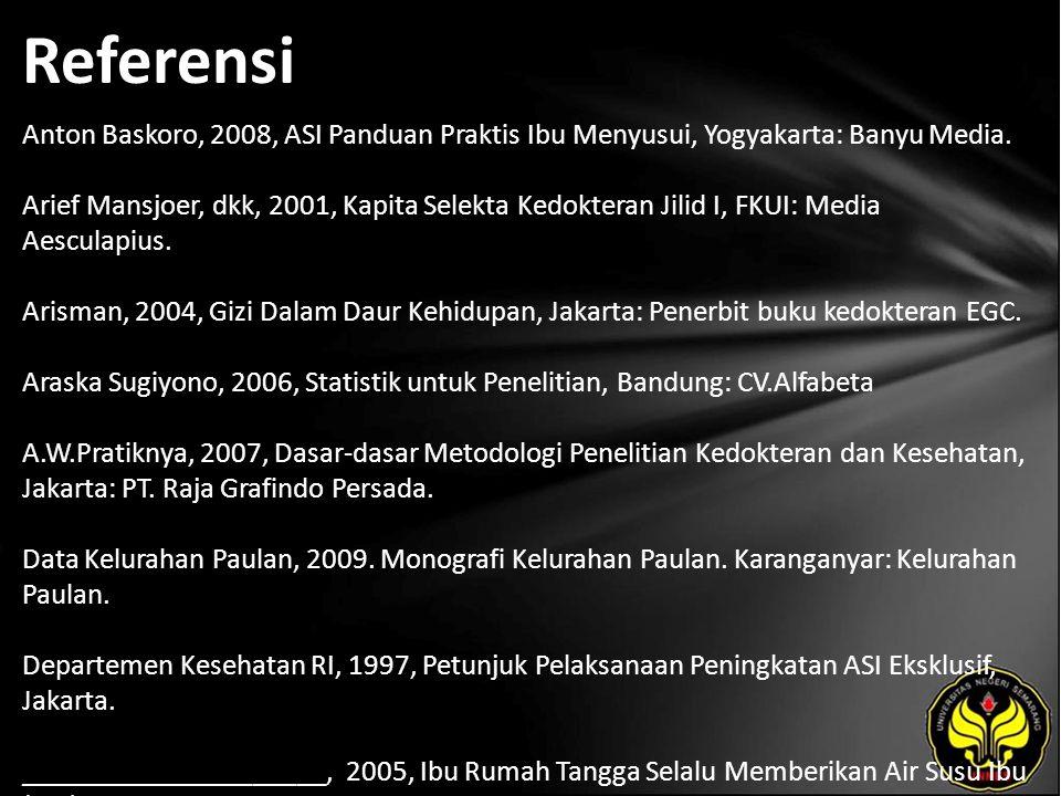 Referensi Anton Baskoro, 2008, ASI Panduan Praktis Ibu Menyusui, Yogyakarta: Banyu Media. Arief Mansjoer, dkk, 2001, Kapita Selekta Kedokteran Jilid I