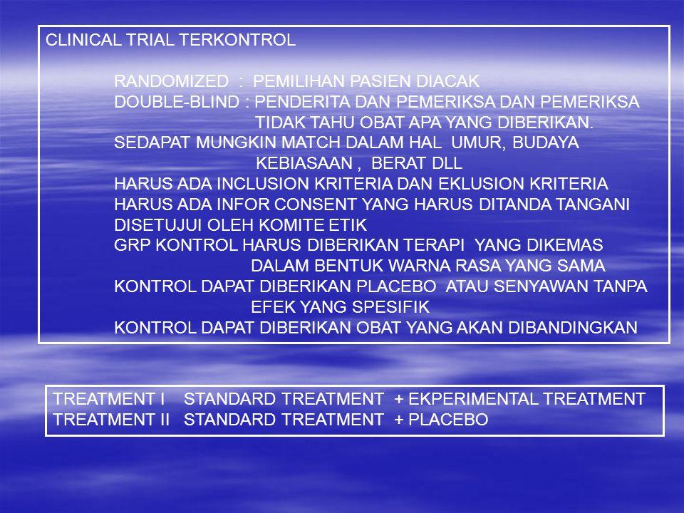 CLINICAL TRIAL TERKONTROL RANDOMIZED : PEMILIHAN PASIEN DIACAK DOUBLE-BLIND : PENDERITA DAN PEMERIKSA DAN PEMERIKSA TIDAK TAHU OBAT APA YANG DIBERIKAN.