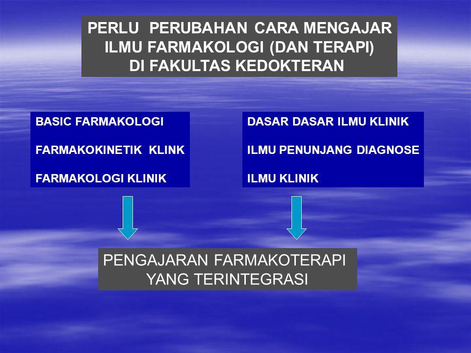 PERLU PERUBAHAN CARA MENGAJAR ILMU FARMAKOLOGI (DAN TERAPI) DI FAKULTAS KEDOKTERAN BASIC FARMAKOLOGI FARMAKOKINETIK KLINK FARMAKOLOGI KLINIK DASAR DASAR ILMU KLINIK ILMU PENUNJANG DIAGNOSE ILMU KLINIK PENGAJARAN FARMAKOTERAPI YANG TERINTEGRASI