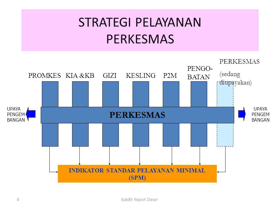 4Subdit Kepwt Dasar STRATEGI PELAYANAN PERKESMAS PROMKESKIA &KBGIZIKESLINGP2M PENGO- BATAN INDIKATOR STANDAR PELAYANAN MINIMAL (SPM) UPAYA PENGEM BANGAN UPAYA PENGEM- BANGAN PERKESMAS (sedang diupayakan)