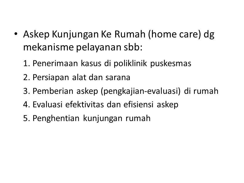 Askep Kunjungan Ke Rumah (home care) dg mekanisme pelayanan sbb: 1.