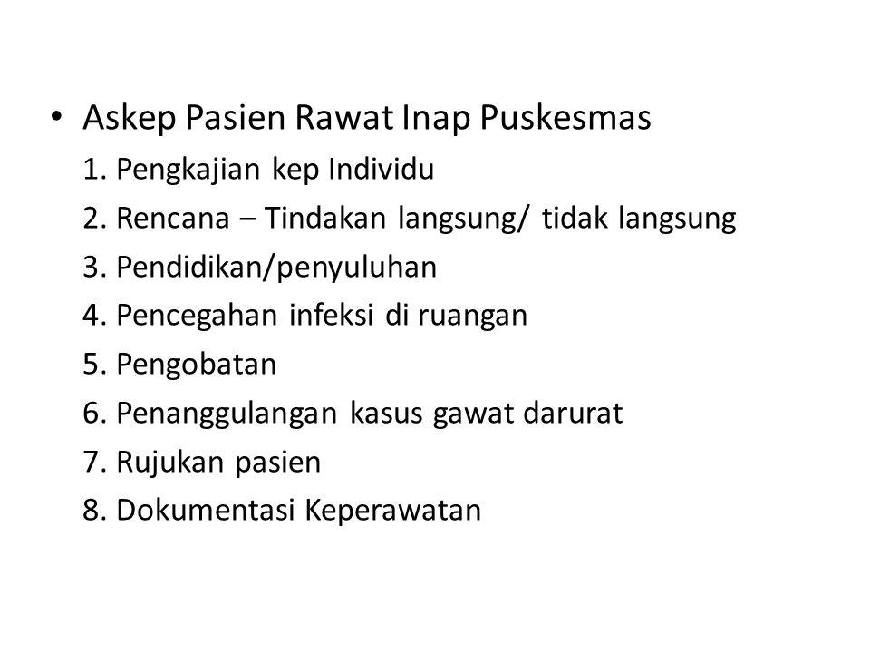 Askep Pasien Rawat Inap Puskesmas 1.Pengkajian kep Individu 2.