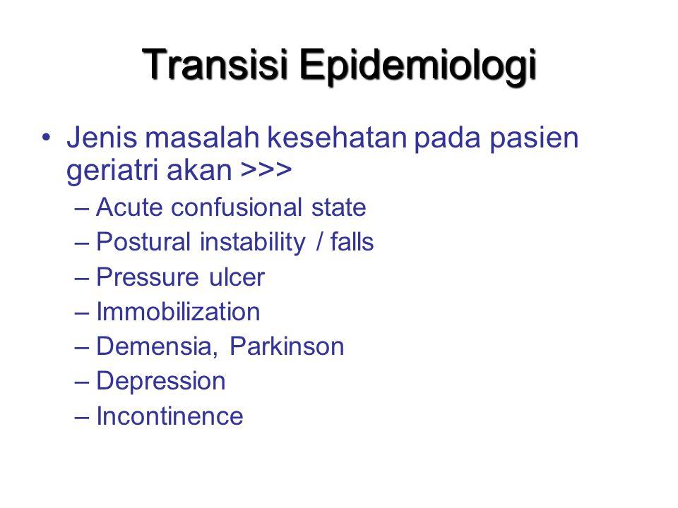 Transisi Epidemiologi Jenis masalah kesehatan pada pasien geriatri akan >>> –Acute confusional state –Postural instability / falls –Pressure ulcer –Im